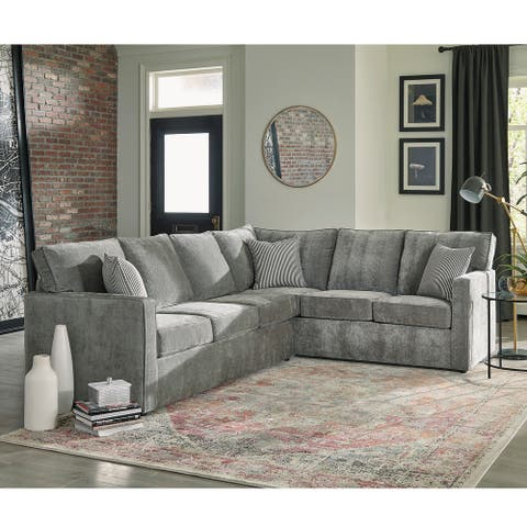 Maddox Grey Sectional Sofa Bed with Queen Gel Memory Foam Mattress