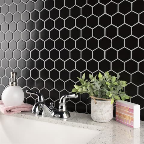 "SomerTile Metro Hex 2"" Matte Black 11-1/8"" x 12-5/8"" Porcelain Mosaic Tile"