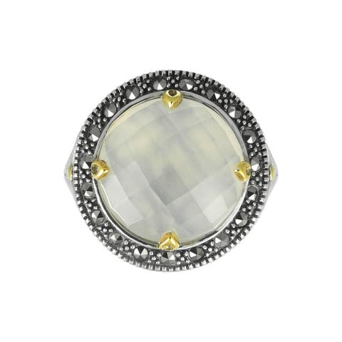 MARC Sterling White Chalcedony w/ CZ & Marcasite accent Ring