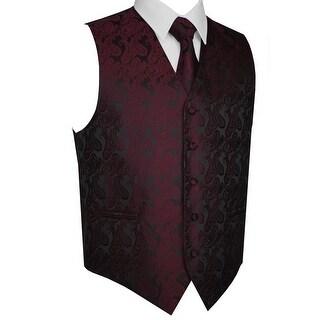 Men's Formal Tuxedo Vest, Tie & Pocket Square Set-Berry Paisley-L