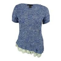 INC International Concepts Women's Lace Hem Open-Knit Top - goddess blue