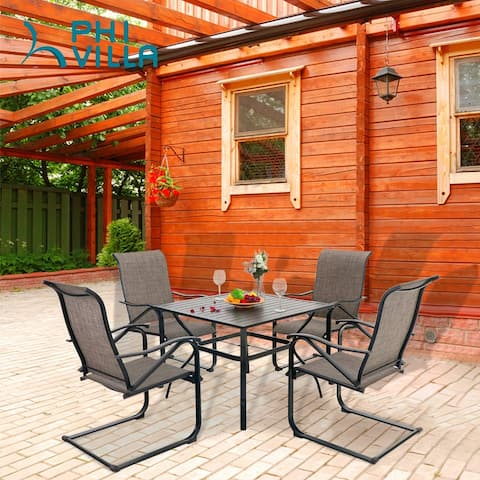 PHI VILLA 5-Pieces Patio Dining Set, Including 1 Steel Frame Table with Umbrella Hole and 4 C spring Patio Chair