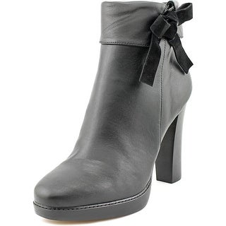 Nina Nell Women Round Toe Leather Black Ankle Boot