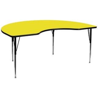 Fun & Games Activity Table 48''W x 96''L Kidney Yellow High Pressure Laminate Adj Height