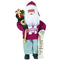 "9"" NCAA Mississippi State Bulldogs Santa Claus with Good List Christmas Ornament - RED"