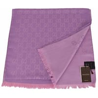 Gucci 165904 Women's Violet and Lilac Wool Silk GG Guccissima Scarf - violet and lilac