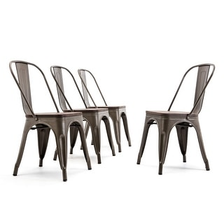 BELLEZE Set of 4 Chairs Metal Wood Seat Bar Stool Stackable Bronze - standard