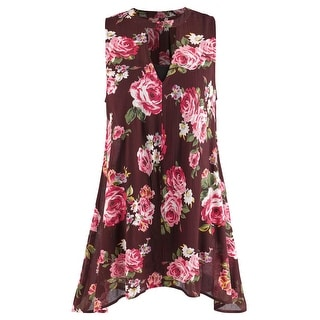 Women's Winsome Wine Tunic Top - Long Sleeveless Floral Blouse