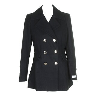 Calvin Klein Black Wool-Blend Double-Breasted Peacoat S