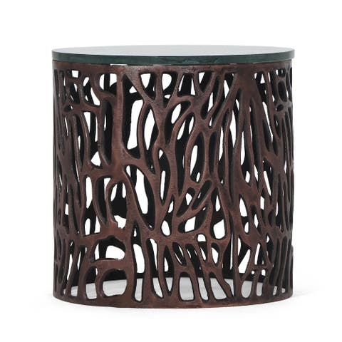 """Coalton Boho Handcrafted Aluminum Side Table with Marble Top by Christopher Knight Home - 16.00"""" L x 16.00"""" W x 16.00"""" H"""
