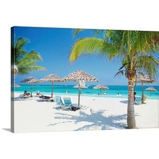 """Tourists on the beach"" Canvas Wall Art"