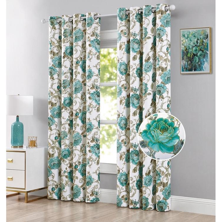 Larisa 2 Pack Floral Printed Room Darkening Grommet Window Panel 54x84 Inches Overstock 32003293