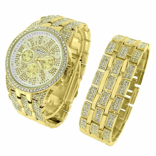 Geneva Watch Matching Bracelet Gift Set Full Iced Out Gold Tone Platinum Mens Hip Hop