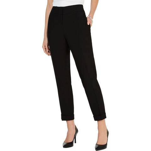 Kasper Womens Petites Ankle Pants Slim Fit Cuffed - Black