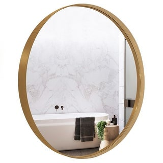 Link to Copper Grove Socorro 30-inch Round Deep Metal Frame Wall Mirror Similar Items in Mirrors