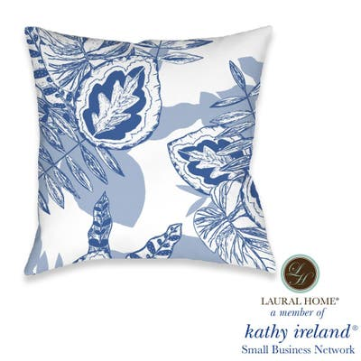 Laural Home kathy ireland® Small Business Network Member Palm Court Azul Decorative Pillow
