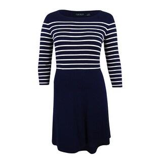 Lauren Ralph Lauren Women's Striped Dress (L, Lighthouse Navy) - lighthouse navy - l