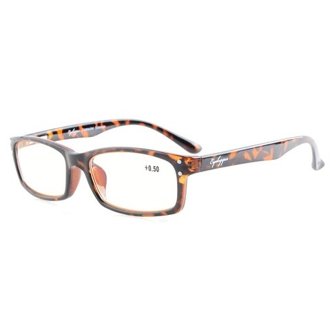 Eyekepper Spring Hinges Anti Glare and Scratch Resistant Lens Amber Tinted Lenses Reading Glasses Tortoise +2.75