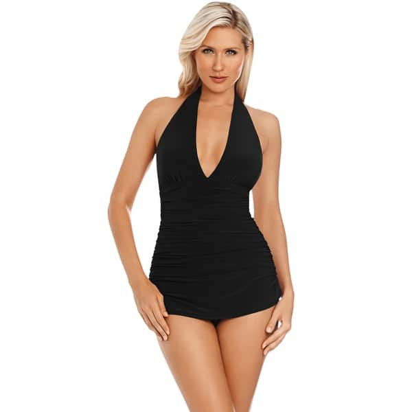 b3becf6e515 Shop Magicsuit Black Yvonne Plunge Halter Swimdress - Free Shipping Today -  Overstock - 17761667