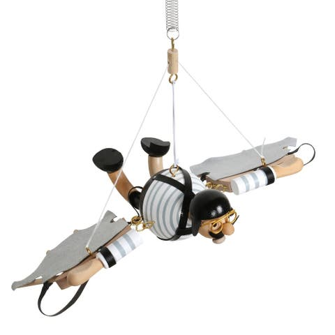 From There To Here Wood Flying Man Toy - Hanging Bouncing Motion Figurine with Makeshift Wings