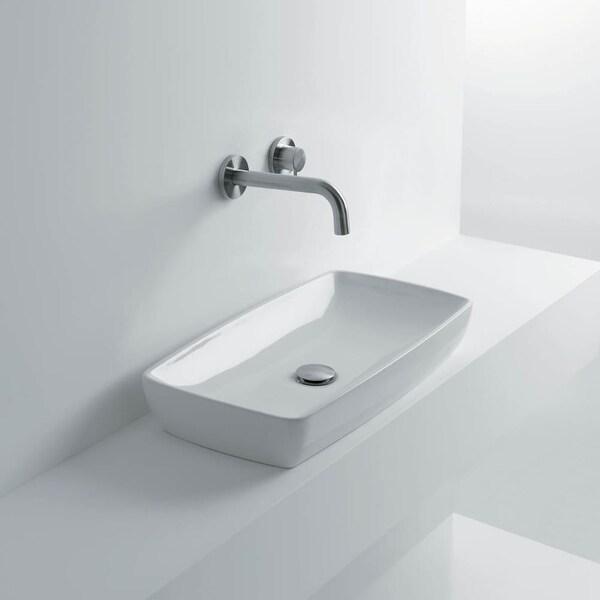 "WS Bath Collections H10 60C - 8208501 H10 23-3/5"" Vessel Bathroom Sink - ceramic white"