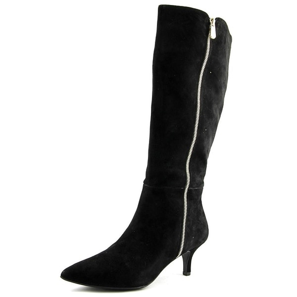 Anne Klein Fedya Women Pointed Toe Suede Black Knee High Boot