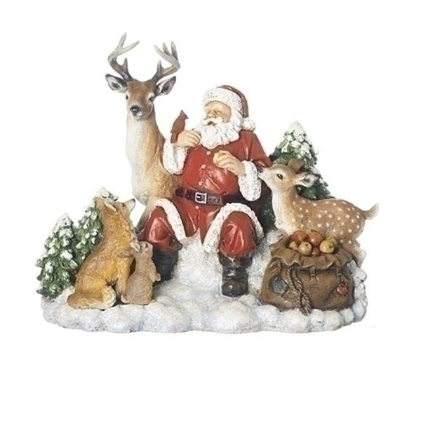 "Set of 2 Santa with Animals Table Top Figure 9.25"" - WHITE"