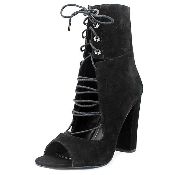 Kendall + Kylie Ella Women Open-Toe Suede Black Mid Calf Boot