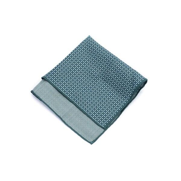 Brunello Cucinelli Mens Silk Blend Green Geometric Pocket Square