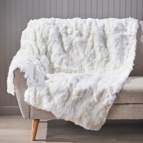 Akers Glam Faux Fur Throw Blanket by Christopher Knight Home
