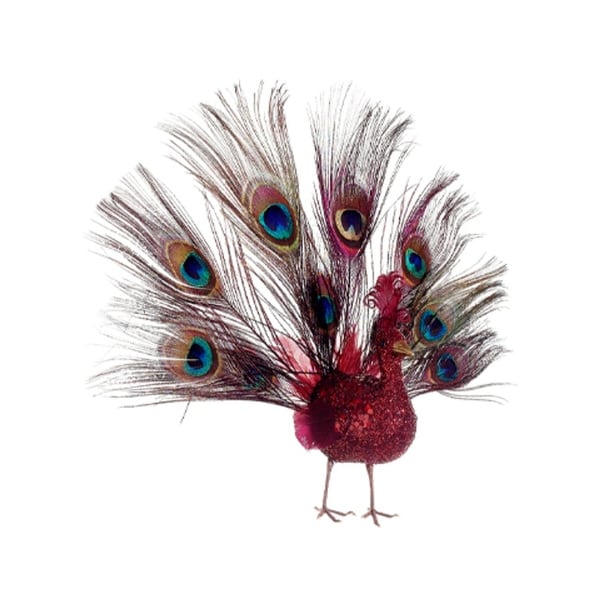 "10"" Regal Peacock Glitter Drenched Vibrant Red Open-Tail Bird Christmas Ornament"