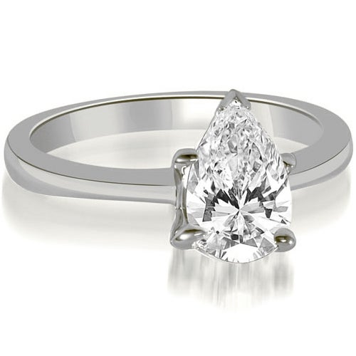 0.75 cttw. 14K White Gold Solitaire Pear Cut Diamond Engagement Ring