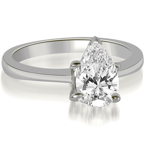 1.00 cttw. 14K White Gold Solitaire Pear Cut Diamond Engagement Ring