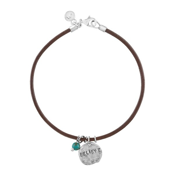 'Believe' Leather Charm Bracelet with Turquoise in Sterling Silver - Green