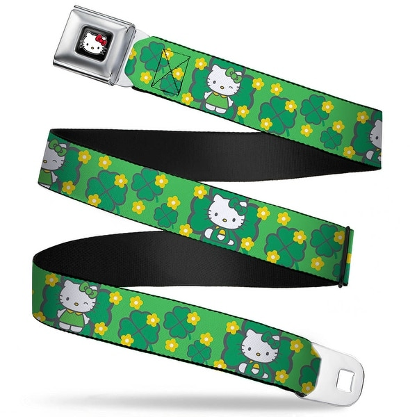 Hello Kitty W Red Bow Full Color Black Hello Kitty St. Patrick's Day 1 Seatbelt Belt