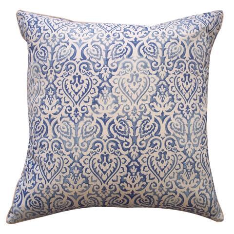 Jiti Blue Ikat Rustic Summer Sunbrella Outdoor Pillows - 20 x 20
