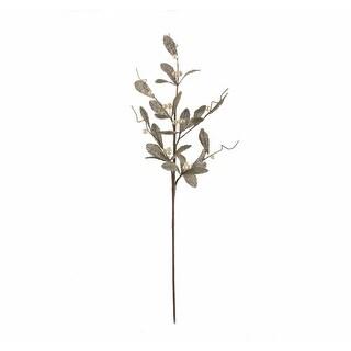 "30"" Silent Luxury Vintage Glittered Green Burlap and Pearl Mistletoe Floral Christmas Spray"