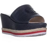 Tommy Hilfiger Batist Logo Platform Wedge Sandals, Dark Blue