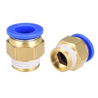 """4 Pcs 1/2"""" G Male Straight Thread 14mm Push In Joint Pneumatic Quick Fittings"""