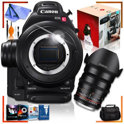 Canon C100 Cinema EOS Camera with Rokinon 24mm Lens, Corel Editing Bundle