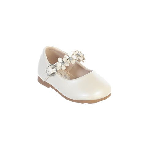 Little Girls Ivory Flower Adorned Strap Leatherette Mary Jane Shoes