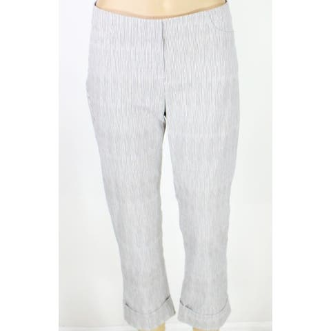 Illusion Womens Dress Pants Gray Combo Size 8 Printed Stretch Pull-On