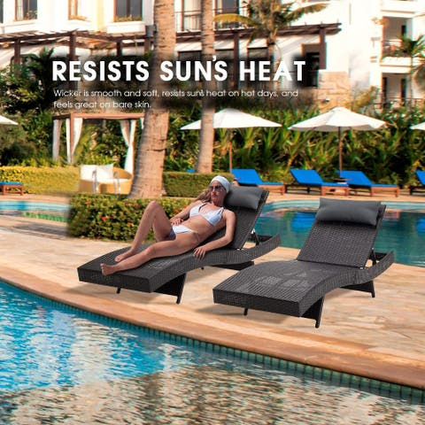 Mcombo Wicker Lounge Chaise Patio Outdoor Adjustable Chair Furniture 6082-LCBK-2