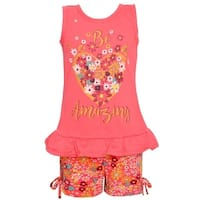 Real Love Little Girls Coral Heart Floral Ruffle Hem 2 Pc Shorts Outfit