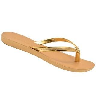 Rasolli Adult Gold Glitter Thong Strap Casual Slipper Flip Flops