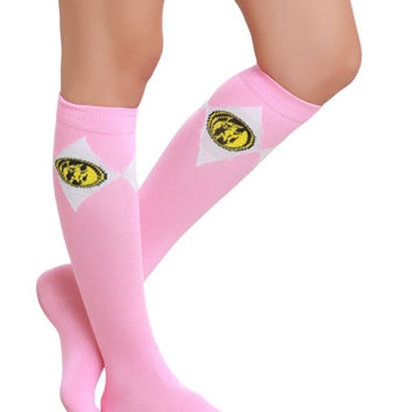 Mighty Morphin Power Rangers Crew Socks Pink
