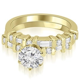 1.05 cttw. 14K Yellow Gold Round and Baguette Diamond Bridal Set
