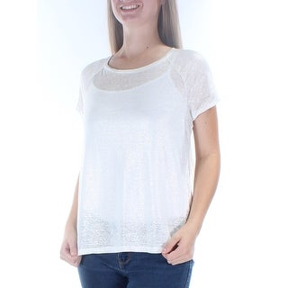 Womens Ivory Short Sleeve Boat Neck T-Shirt Top Size M