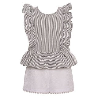 Bonnie Jean Little Girls White Stripe Ruffled Top 2 Pc Shorts Outfit