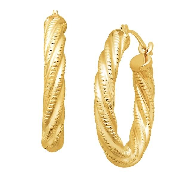Just Gold Twist Rope Hoop Earrings in 14K Gold - YELLOW